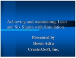 Achieving and Maintaining Lean and Six Sigma